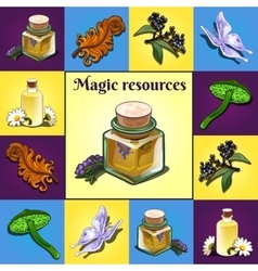 Set of magic components items and ingredients vector