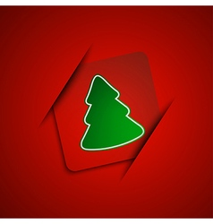Simple christmas tree on red background vector image vector image
