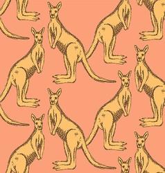 Sketch Australian kangaroo in vintage style vector image