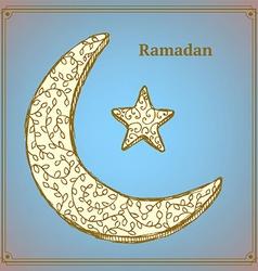 Sketch ramadan symbol in vintage style vector