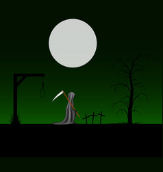 Spooky background with grim reaper vector