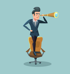 successful businessman looking through spyglass vector image vector image