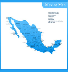 the detailed map of the mexico vector image vector image