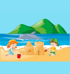 Two kids playing sandcastle on the beach vector