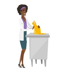 Veterinarian examining cat vector