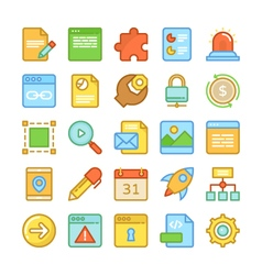 Web design and development colored icons 3 vector