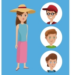 Woman tourist hat shirt and group boy traveler vector