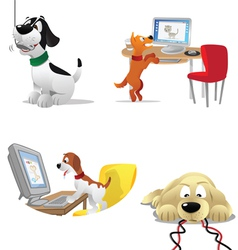 Dogs computers vector