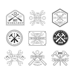 Wood Workshop Black And White Emblems vector image