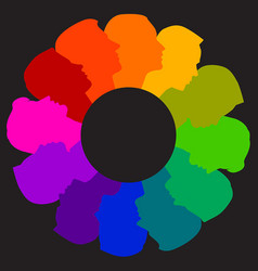 A colorful diverse circle of faces vector