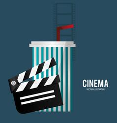 cinema film clapper soda with straw vector image