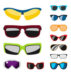 Fashion set sunglasses accessory sun spectacles vector
