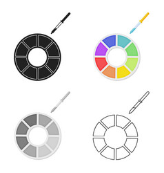 Color wheel icon in cartoon style isolated on vector
