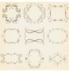 Calligraphic and floral frames set vector image