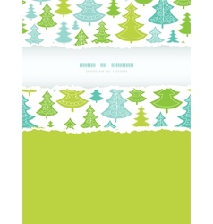 Holiday Christmas trees vertical torn frame vector image