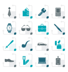 Stylized man accessories icons and objects vector