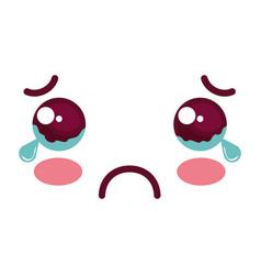 sad face kawaii character icon vector image