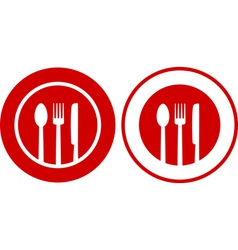 Icons with plate fork spoon knife vector