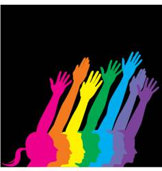 abstract neon hands profile vector image