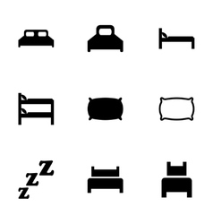 Bed icon set vector