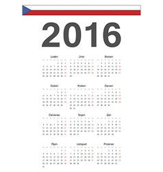 Simple czech 2016 year calendar vector