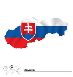 Map of slovakia with flag vector