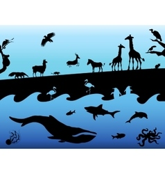 Concept background with animal silhouettes black vector