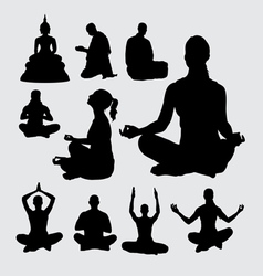 Meditation people silhouettes vector image
