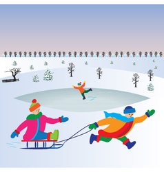 Children with sled kids playing winter games vector