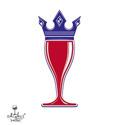 Decorative luxury wineglass with monarch crown art vector