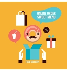 Food delivery design element set delicious dessert vector
