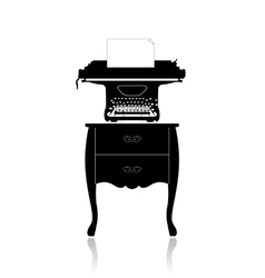 Old typewriter on a small table vector