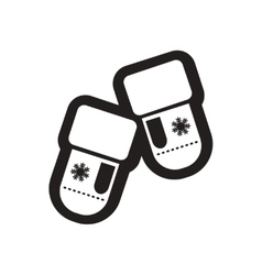 Flat icon in black and white mittens vector