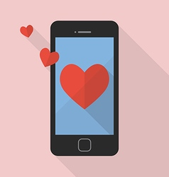 Heart icon on smart phone vector