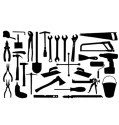 Construction tools silhouettes vector