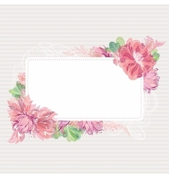 Romantic card template with floral border vector