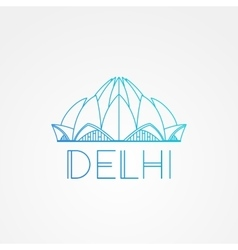 World famous lotus temple greatest landmarks of vector