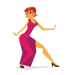 Pin-up femme fatale woman spy thief action pose vector