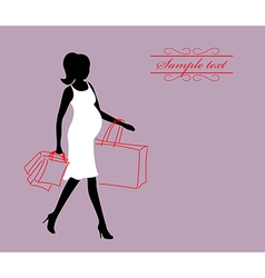 a pregnant woman with shopping bags vector image