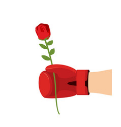 boxer glove and rose give flower on 8t of march vector image vector image
