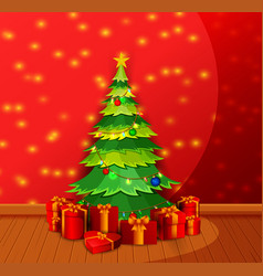 Christmas living room with decorated christmas vector