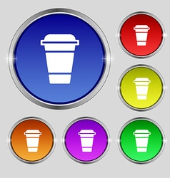 Coffee icon sign round symbol on bright colourful vector