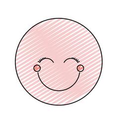 Color crayon silhouette happy face female emoticon vector