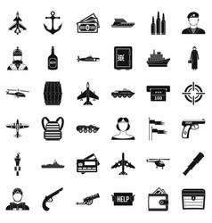 Combat alarm icons set simple style vector