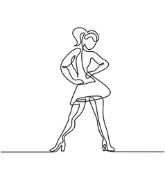 continuous line drawing of dancing woman vector image vector image