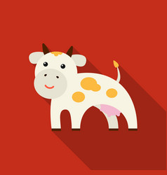 Cow icon flat single bio eco organic product vector