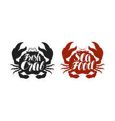 crab logo or label food seafood icon lettering vector image vector image