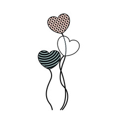 Crayon silhouette of set of balloons in heart vector