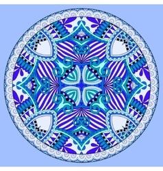 Decorative design of blue circle dish template vector