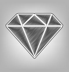 Diamond sign pencil sketch vector